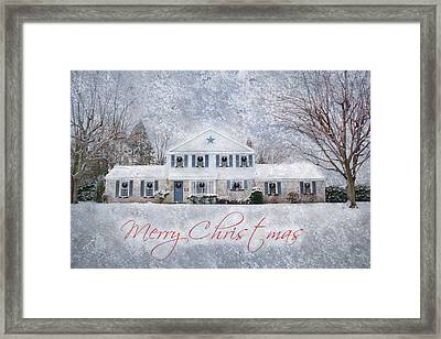 Wintry Holiday - Merry Christmas Framed Print by Shelley Neff