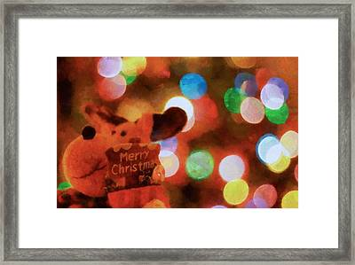 Merry Christmas Sign And Lights Framed Print by Dan Sproul