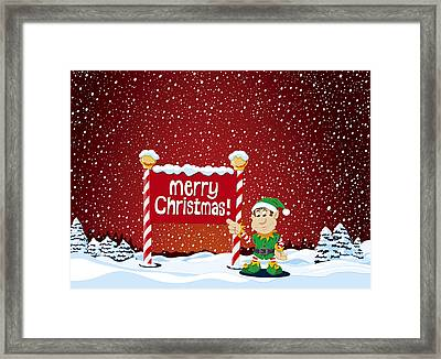 Merry Christmas Sign Christmas Elf Winter Landscape Framed Print by Frank Ramspott