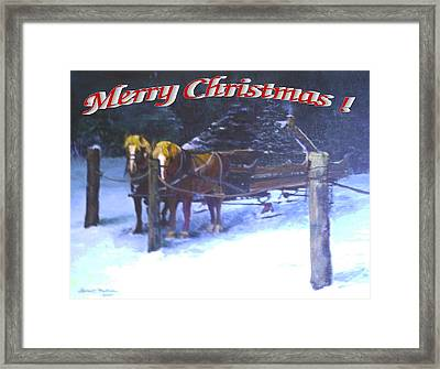 Merry Christmas Sleigh Framed Print