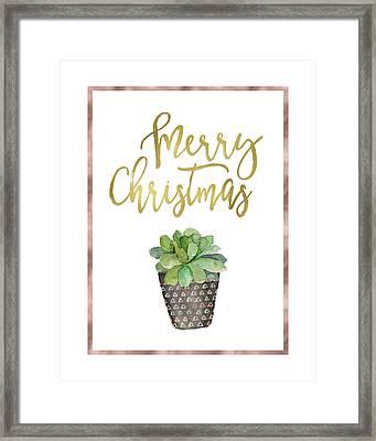 Merry Christmas Succulent Framed Print