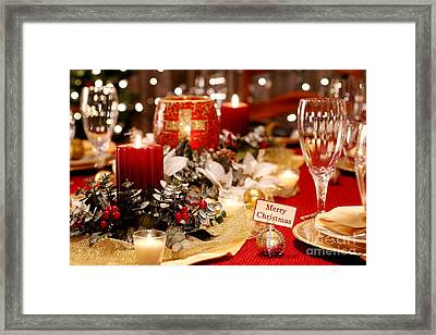 Merry Christmas Table Framed Print