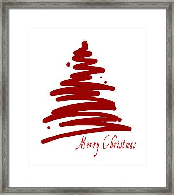 Merry Christmas Tree - Red Framed Print
