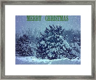 Merry Christmas Winter Scene Framed Print