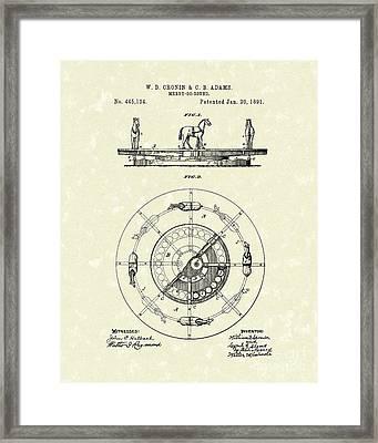 Merry-go-round 1891 Patent Art Framed Print by Prior Art Design