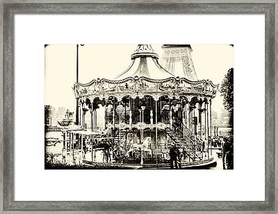 Merry Go Round And Eiffel Tower Framed Print