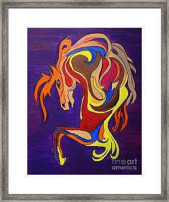 Framed Print featuring the painting Merry Go Round Carousel Horse by Janice Rae Pariza