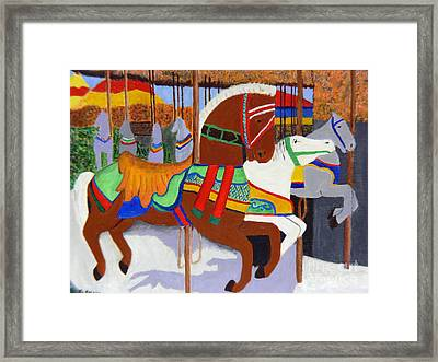 Framed Print featuring the painting Merry-go-round by Mary M Collins