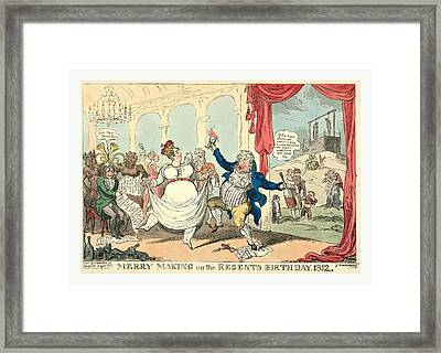 Merry Making On The Regents Birth Day, 1812, Cruikshank Framed Print by Litz Collection