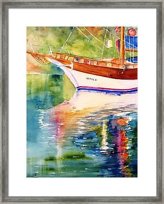 Merve II Gulet Yacht Reflections Framed Print