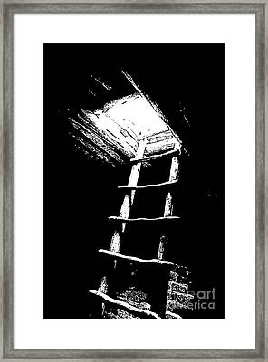 Mesa Verde National Park Spruce Tree House Kiva Ladder Black And White Stamp Framed Print