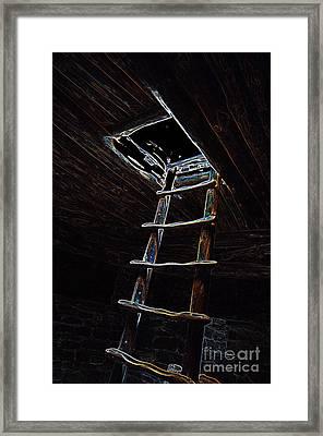 Mesa Verde National Park Spruce Tree House Kiva Ladder Glowing Edges Framed Print