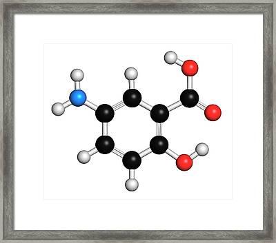 Mesalazine Bowel Disease Drug Molecule Framed Print by Molekuul