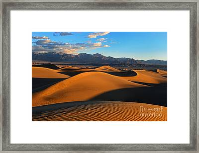 Mesquite Sand Dunes Death Valley Framed Print by Peter Dang
