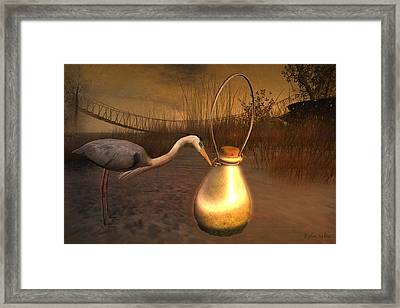 Framed Print featuring the digital art Message In A Bottle by Kylie Sabra