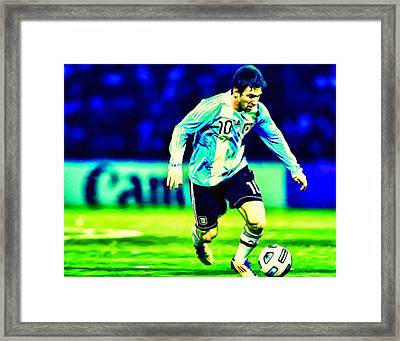 Messi Soccer Football Art Landscape Painting  Framed Print by Andres Ramos
