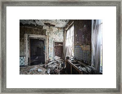Messy Kitchen Abandoned Places Framed Print