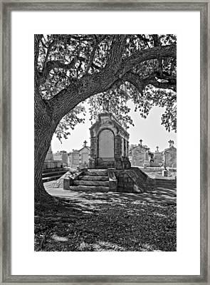 Metairie Cemetery Monchrome Framed Print by Steve Harrington