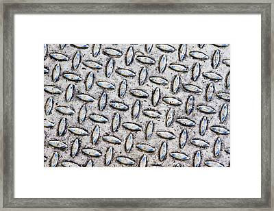 Metal Background With Cream And Blue Colours Framed Print by Fizzy Image