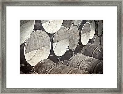 Metal Barrels 1bw Framed Print by Rudy Umans