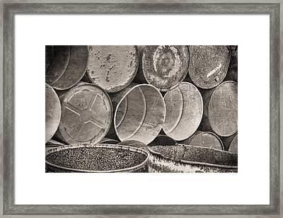 Metal Barrels 2bw Framed Print