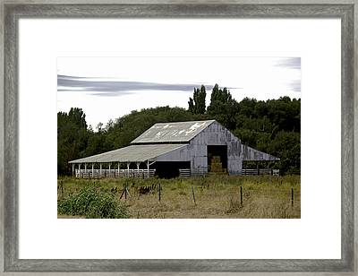 Metal Hay Barn Framed Print