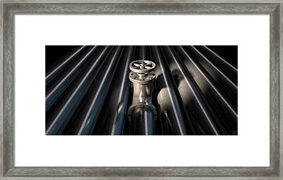 Metal Shutoff Valve And Pipes Framed Print