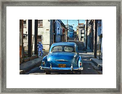 Metallic Blue And Santeria Framed Print by Larry Sides
