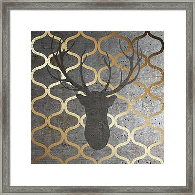Metallic Deer Nature Framed Print