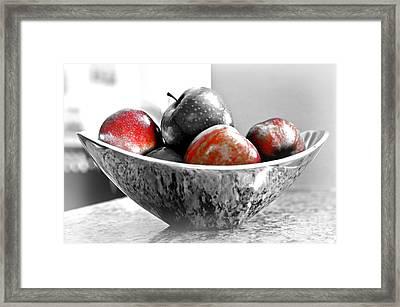 Metallic Fruit Bowl - Still Life Framed Print