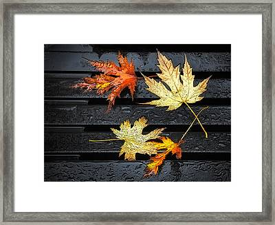 Metallic Leaves Framed Print