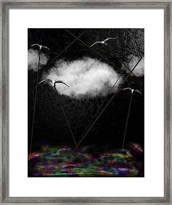 Metallic Seagulls Suspended Over A Rainbow Ocean Framed Print