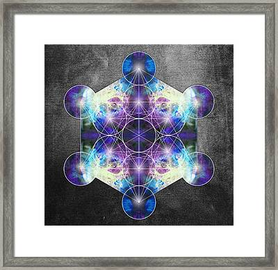 Metatron's Cube Blue Framed Print