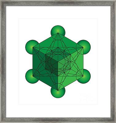 Metatron's Cube In Green Framed Print