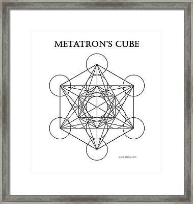 Metatron's Cube - White Framed Print by Jelila Jelila