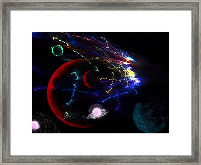 Meteor Explosion Framed Print by Camille Lopez