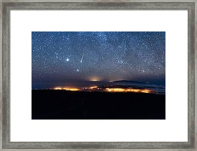 Meteor Over The Big Island Framed Print