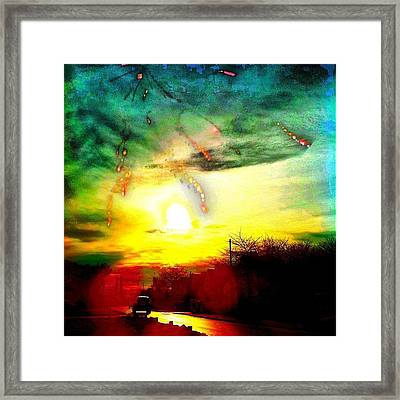 Meteor Storm And Chromatic Sunset Framed Print