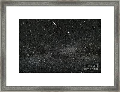 Meteor With The Milky Way Framed Print