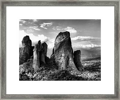Meteora Greece Strange Rock Formation Framed Print