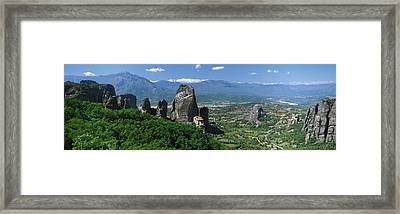 Meteora Monastery Greece Framed Print by Panoramic Images