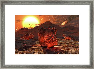 Meteorites And Asteroids Bombard Framed Print by Mark Stevenson