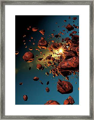 Meteors In Space Framed Print