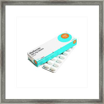 Metformin Antidiabetic Tablets Framed Print by Science Photo Library