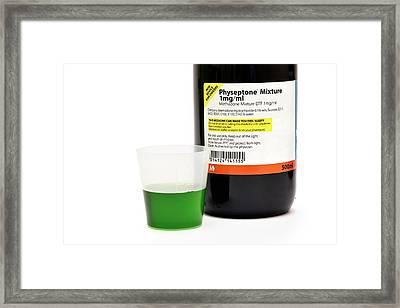 Methadone Drug Bottle And Liquid Framed Print by Dr P. Marazzi