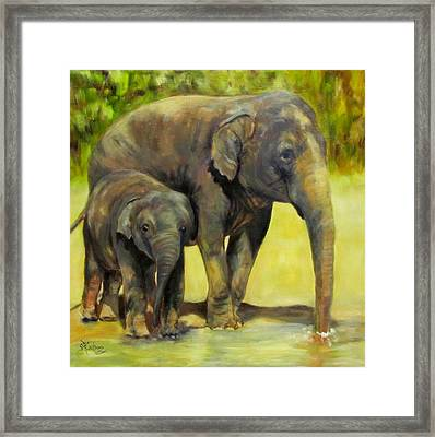 Thirsty, Methai And Baylor, Elephants  Framed Print