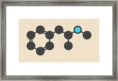 Methamphetamine Crystal Meth Molecule Framed Print by Molekuul