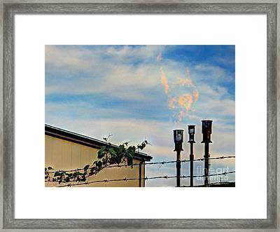 Methane Flares Framed Print by MJ Olsen
