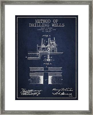 Method Of Drilling Wells Patent From 1906 - Navy Blue Framed Print by Aged Pixel