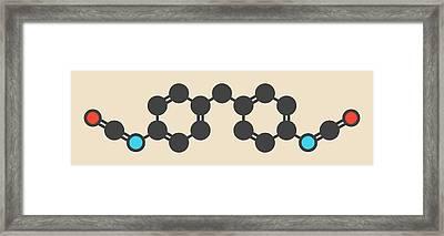 Methylene Diphenyl Diisocyanate Molecule Framed Print by Molekuul